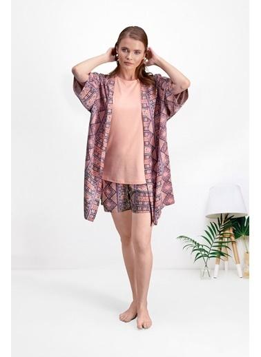 Pierre Cardin Pierre Cardin Şeftali Kadın Şort Takım Kimono 3'Lü Set Pembe